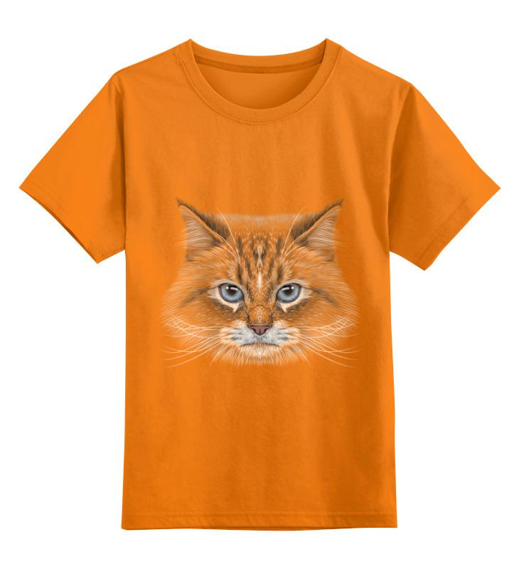 Купить 0000002447289, Детская футболка Printio Котик цв.оранжевый р.116,