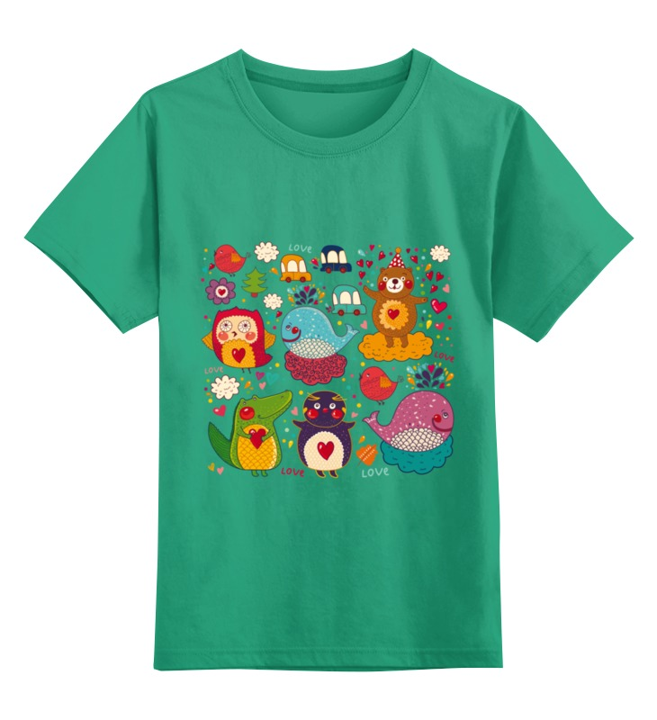 Купить 0000002501638, Детская футболка Printio Зверушки цв.зеленый р.116,