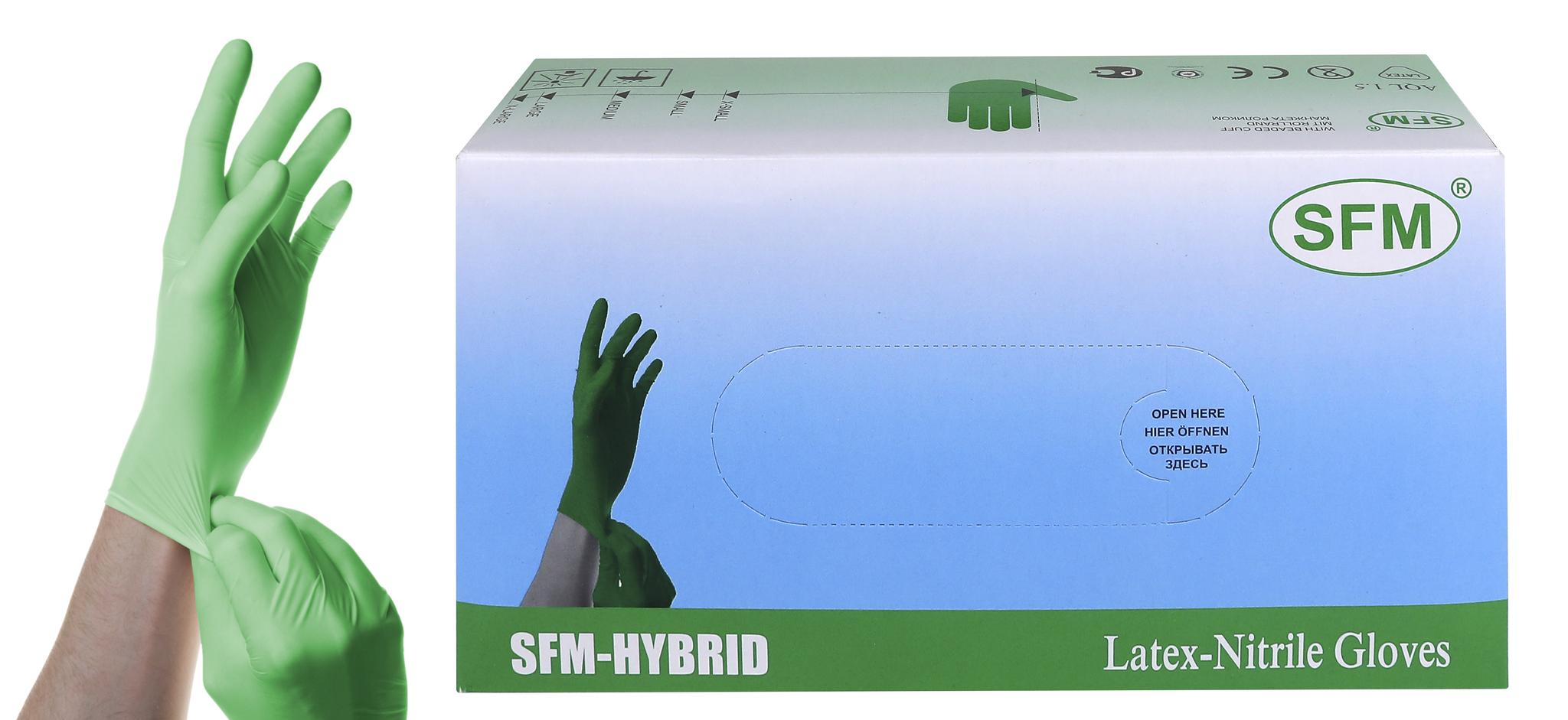 Купить Перчатки СМОТРОВЫЕ SFM-HYBRID нестер. неопудр. текстур. L 100 шт.