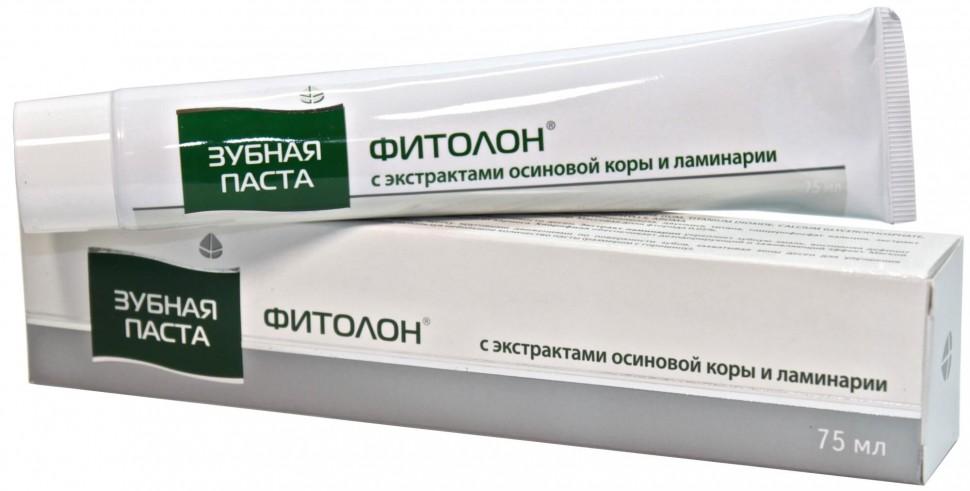Зубная паста ФИТОЛОН с экстрактами осиновой коры и ламинарии, 75 мл