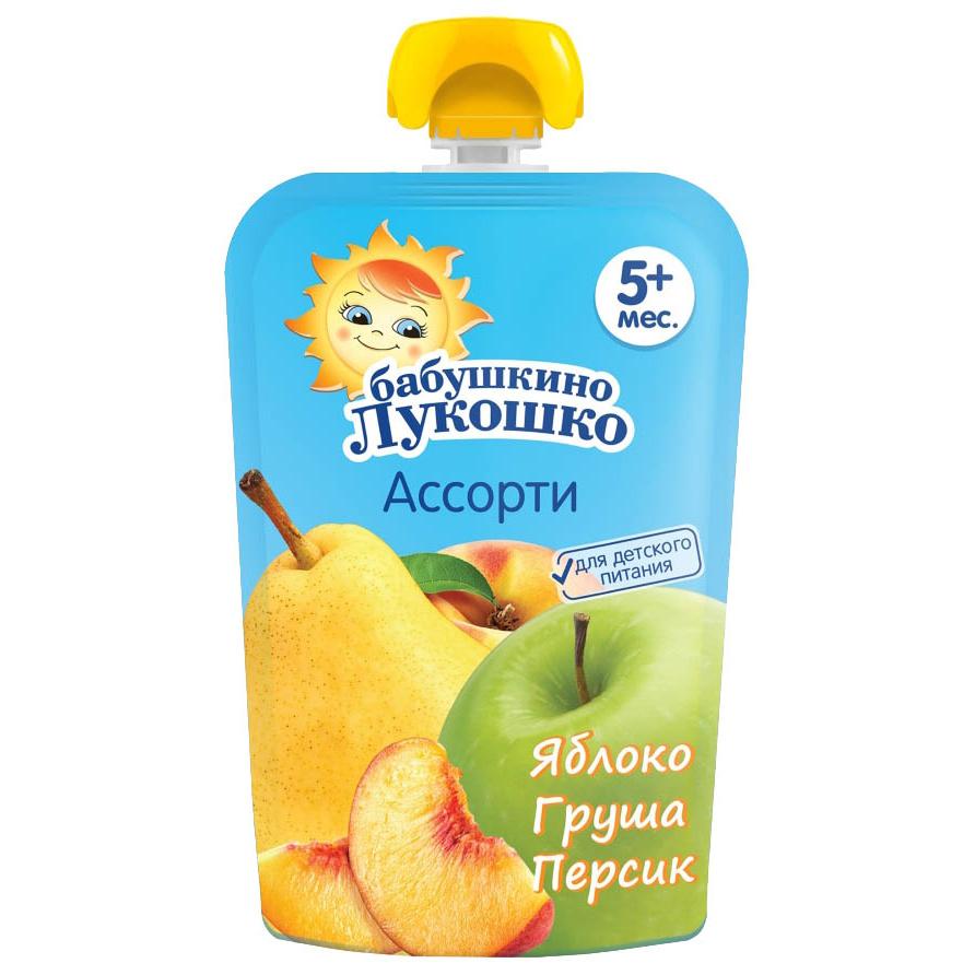 Купить Пюре Бабушкино лукошко Яблоко-груша-персик с 5 мес., 90 г, Бабушкино Лукошко,
