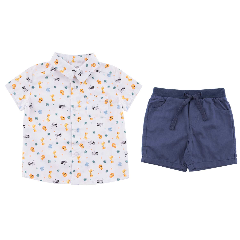 Купить Комплект шорты/сорочка для детей Fun Time DS211-b2-1-181 белый/синий 92,