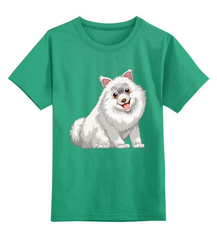Купить 0000002308547, Детская футболка Printio Собачка цв.зеленый р.104,
