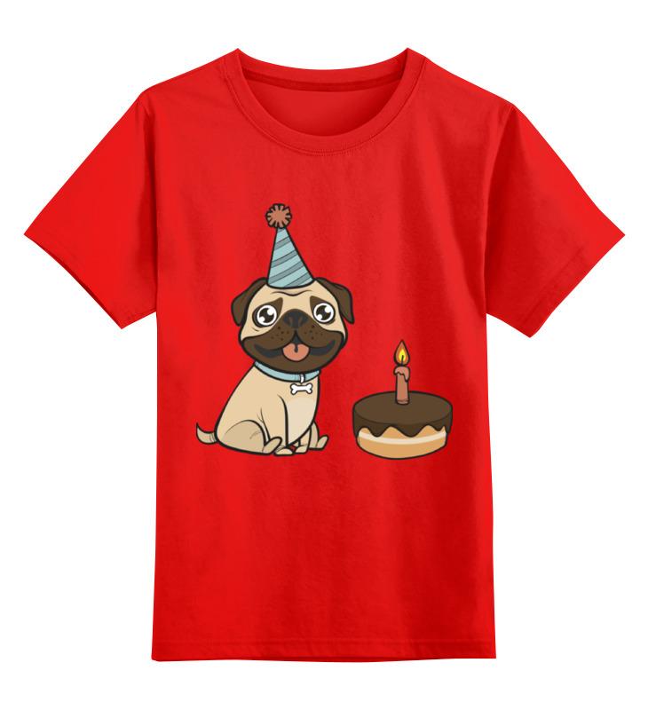 Купить 0000002338566, Детская футболка Printio Мопс. цв.красный р.104,