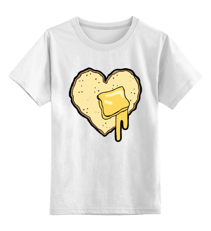 Купить 0000002383721, Детская футболка Printio Хлеб с маслом цв.белый р.104,