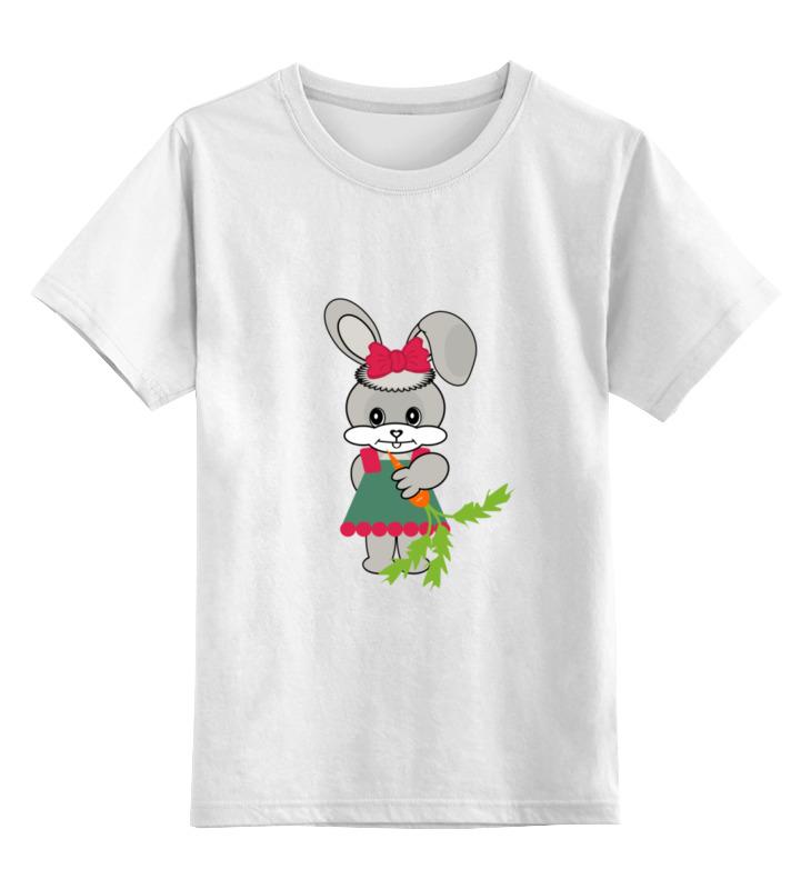 Купить 0000002450175, Детская футболка Printio Зайка с морковкой цв.белый р.104,