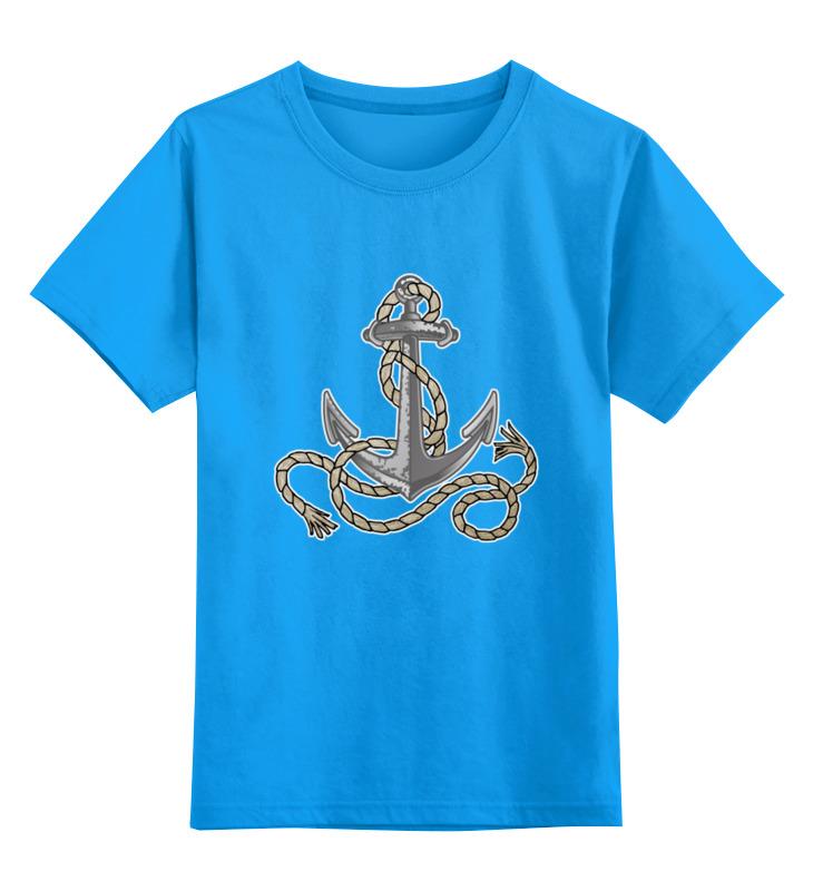 Купить 0000002486860, Детская футболка Printio Якорь цв.голубой р.104,