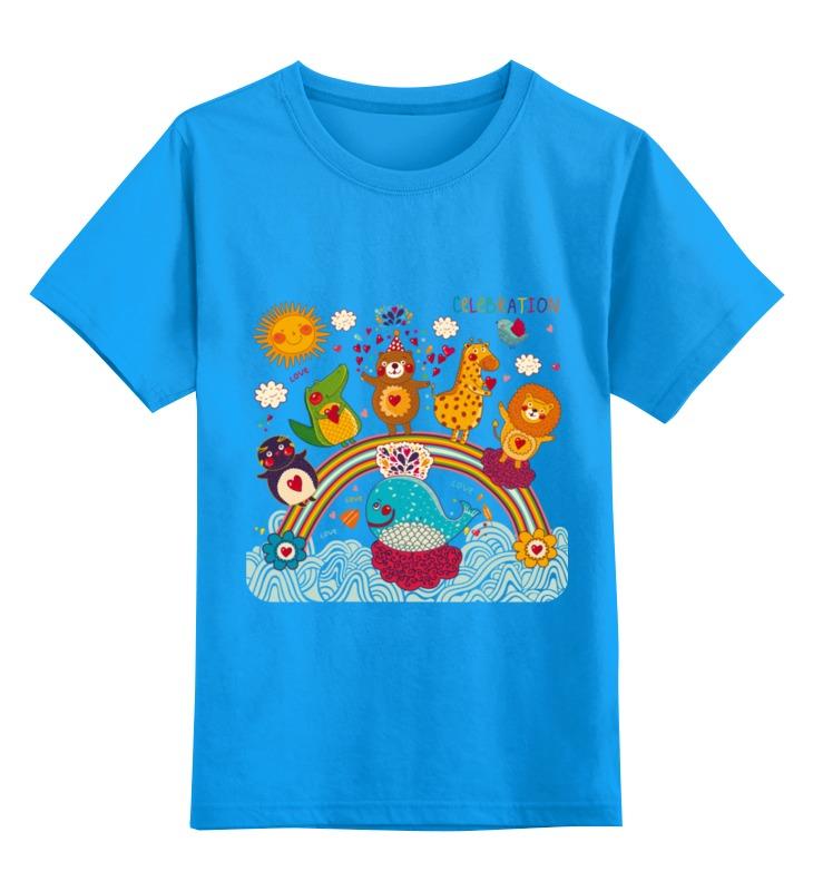 Купить 0000002501626, Детская футболка Printio Зверушки цв.голубой р.104,