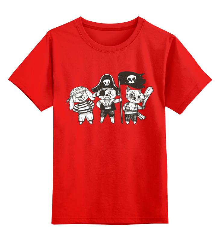 Купить 0000002313586, Детская футболка Printio Пираты цв.красный р.164,