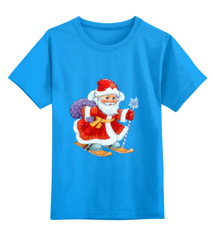 Купить 0000002340142, Детская футболка Printio Дед мороз цв.голубой р.164,
