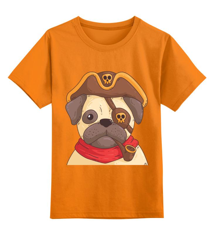 Детская футболка Printio Мопс-пират цв.оранжевый р.164 0000002431865
