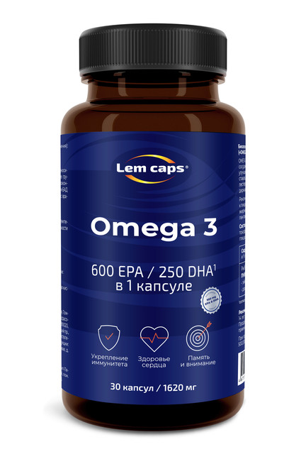 Купить Омега-3 950 мг Lemcaps, 600 ЭПК 250 ДГК капсулы 30 шт.