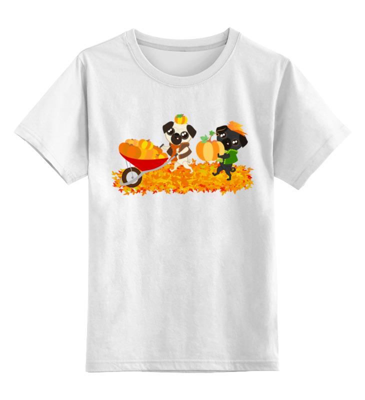 Детская футболка Printio Мопсы и тыквы цв.белый р.104 0000002429515 по цене 672