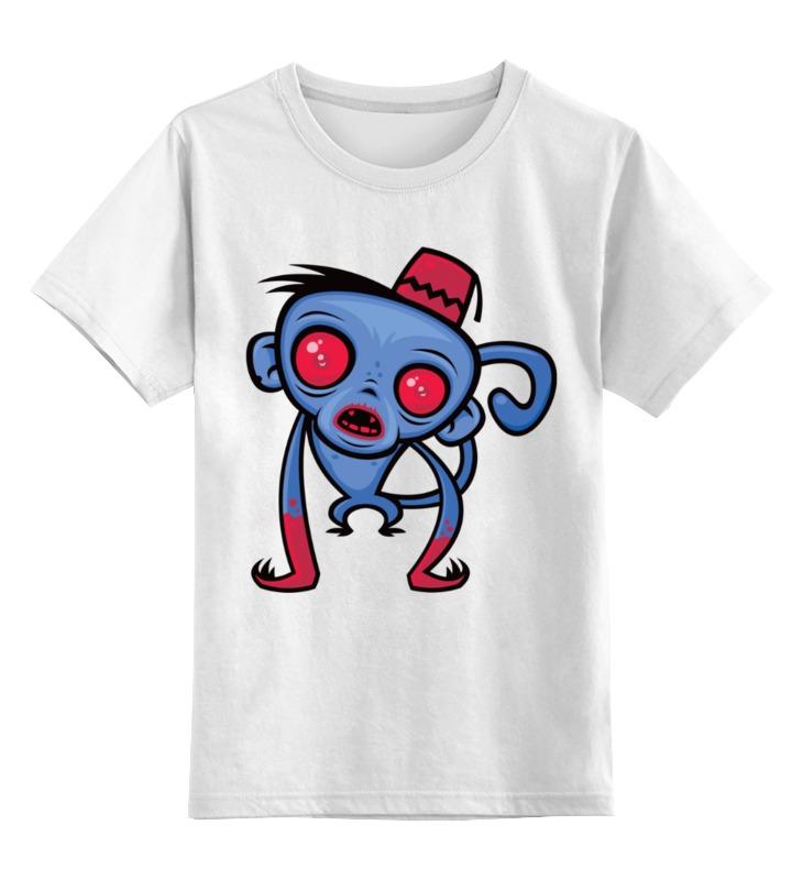 Купить 0000002491126, Детская футболка Printio Обезьяна цв.белый р.104,