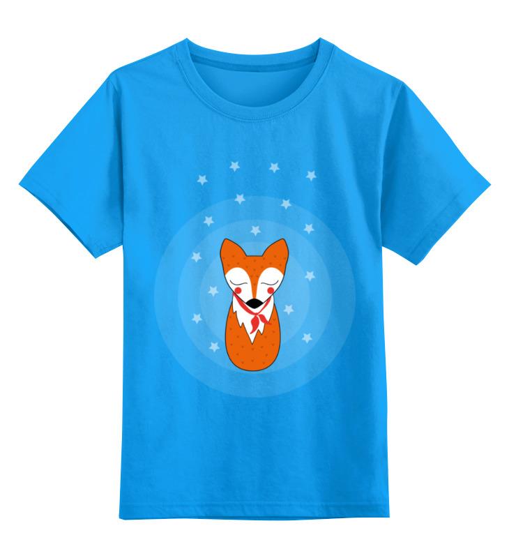 Купить 0000002433087, Детская футболка Printio Лис под звездами цв.голубой р.164,