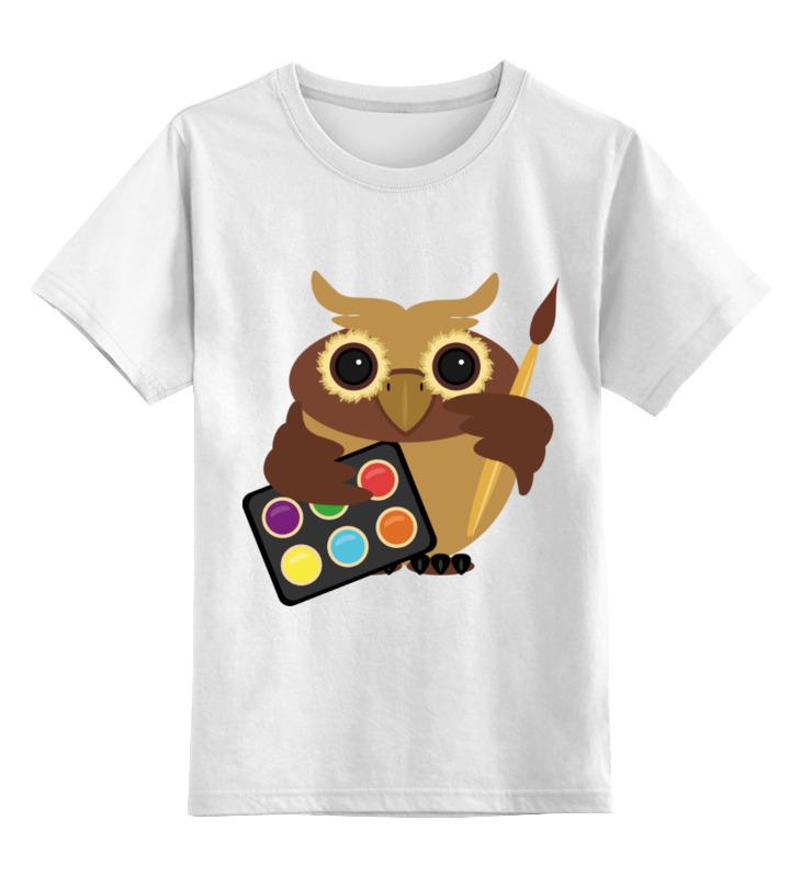 Купить 0000002450590, Детская футболка Printio Сова-художник цв.белый р.164,