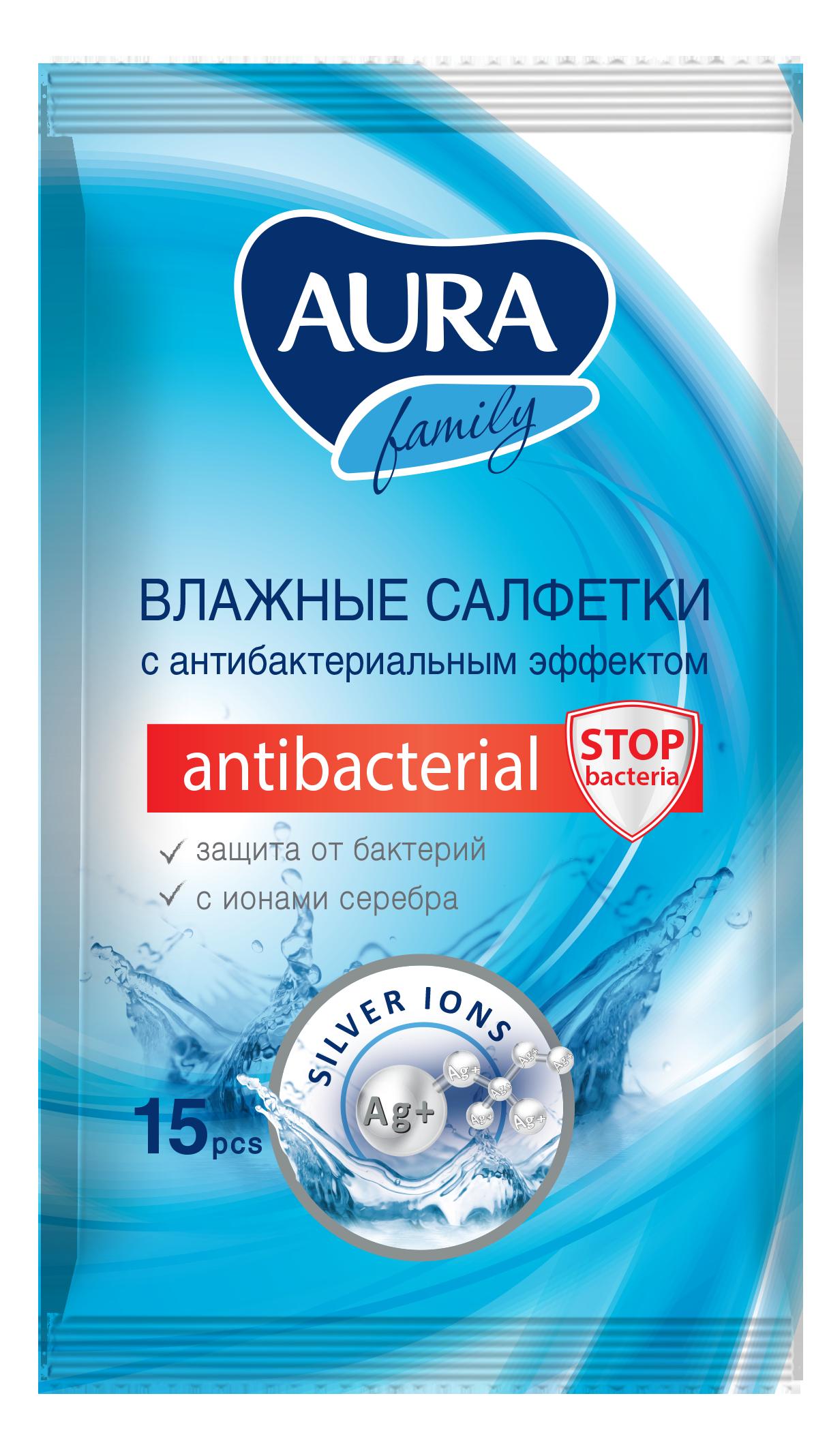 Влажные салфетки Aura Family с антибактериальным эффектом 15 шт фото