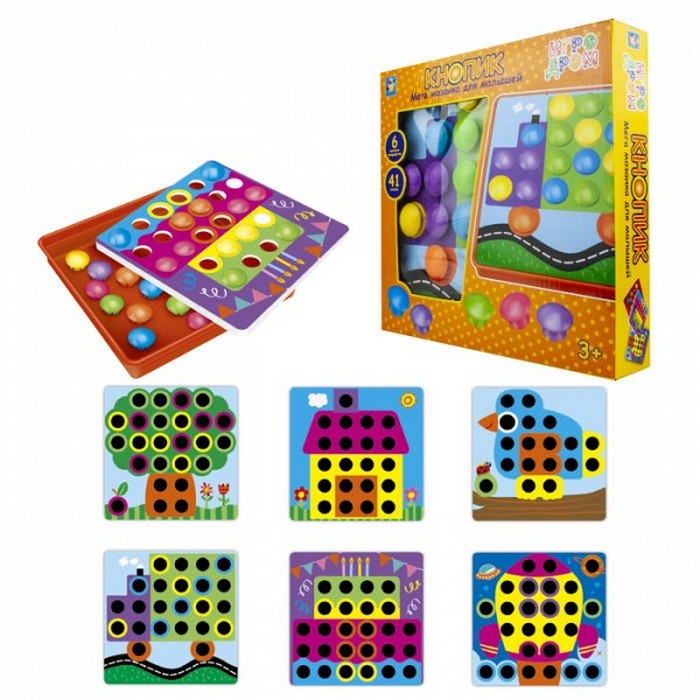 Мозаика для малышей 1TOY Кнопик, 41 кнопка,