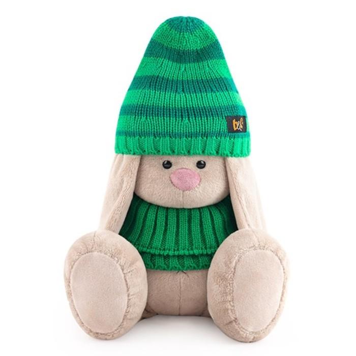 Купить Мягкая игрушка Зайка Ми в зеленой шапке и снуде, 23 см SidM-370 Зайка Ми, BUDI BASA, Мягкие игрушки животные