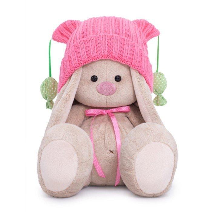 Купить Мягкая игрушка Зайка Ми в розовой шапочке с помпонами, 18 см SidS-354 Зайка Ми, BUDI BASA, Мягкие игрушки животные