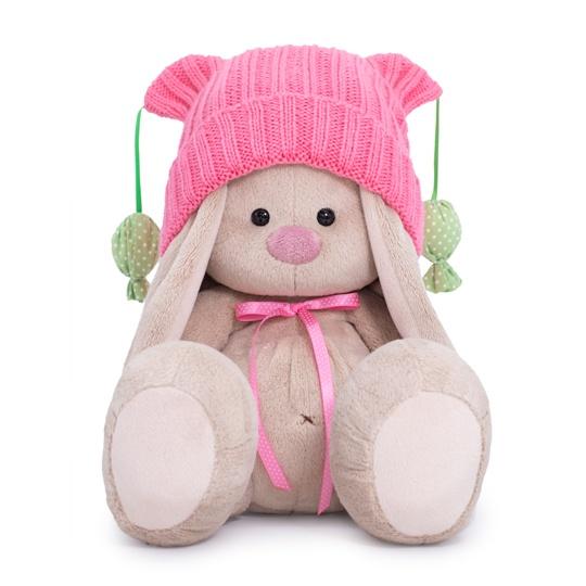 Купить Мягкая игрушка Зайка Ми в розовой шапочке с помпонами, 23 см SidM-354 Зайка Ми, BUDI BASA, Мягкие игрушки животные