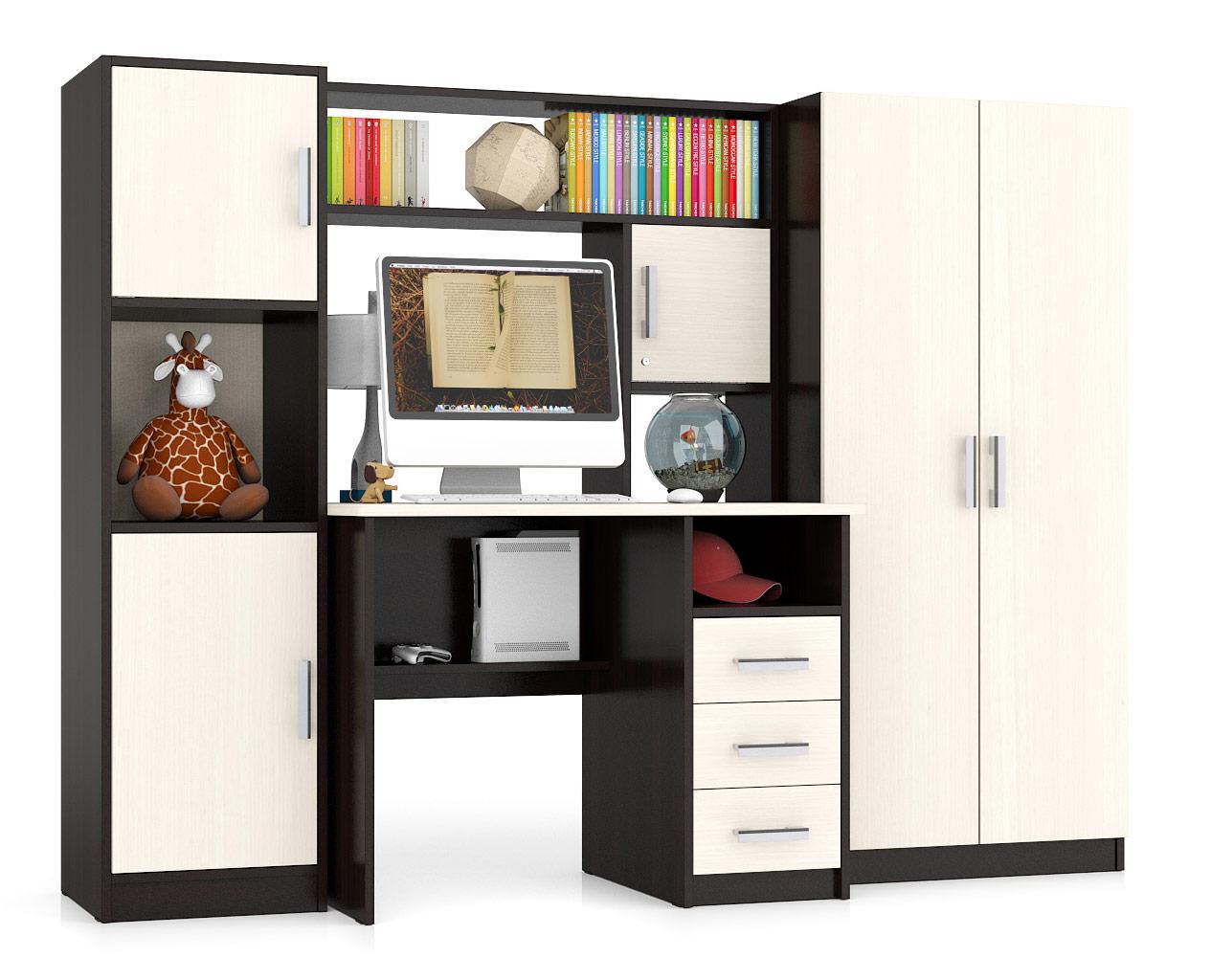 Стол компьютерный Мебельный Двор СК-9 215х70х160 см, дуб/венге