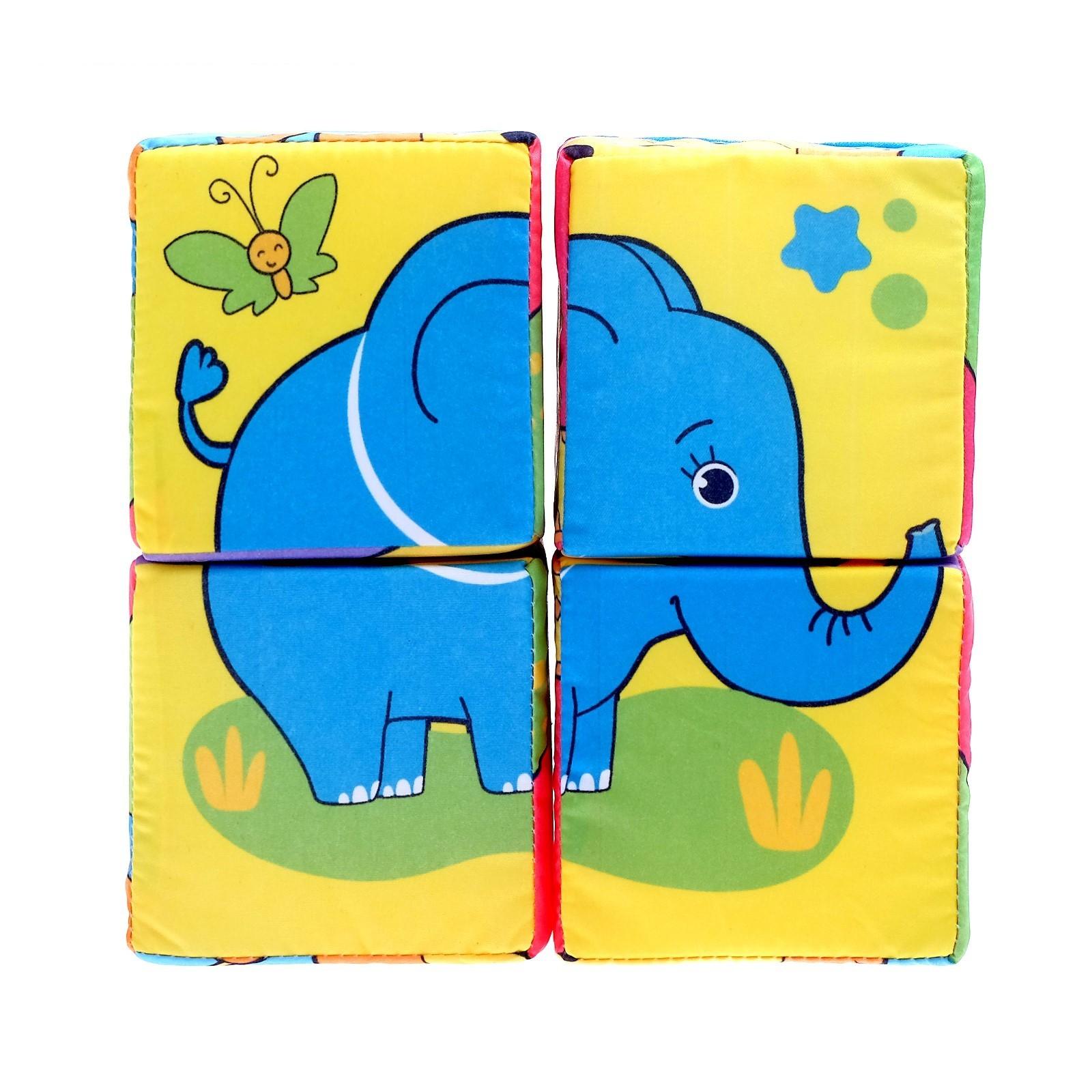 Купить Мягкие кубики Забияка Собери картинку 8 х 8 см, 4 шт., Развивающие кубики