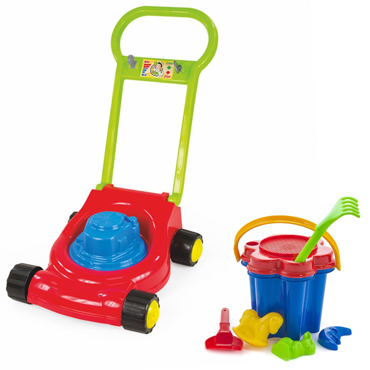 Купить Игровой набор: Детская газонокосилка (15-10631)+ Песочный набор Цветок (40-0100), ZEBRATOYS, Играем в садовода
