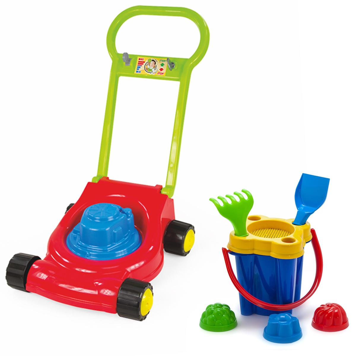 Купить Игровой набор: Детская газонокосилка (15-10631)+ Песочный набор Замок (40-0102), ZEBRATOYS, Играем в садовода