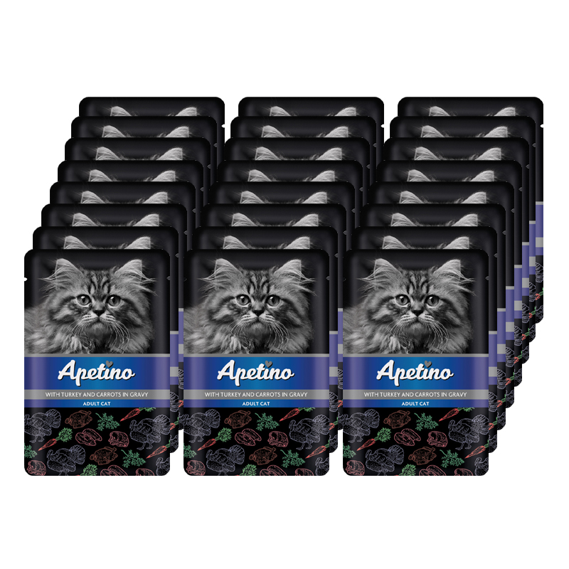 Корм для кошек APETINO индейка, морковь в соусе пауч (упаковка - 24 шт)