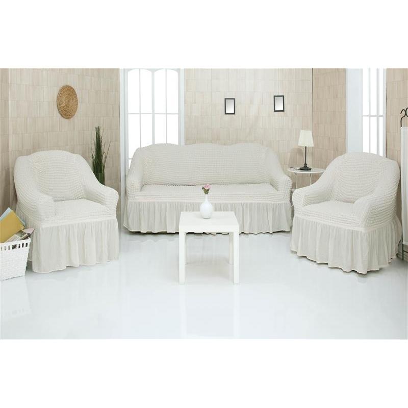 Комплект чехлов на диван и кресла CONCORDIA Sofa set, молочный, 3 предмета