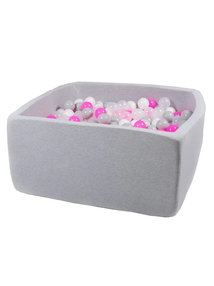 Купить Сухой игровой бассейн Розовый праздник Квадро серый 40 см, шары 200 шт, Hotenok,