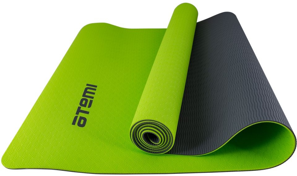 Коврик для йоги и фитнеса Atemi, AYM01TPE, TPE, 173х61х0,4 см, серо-зеленый