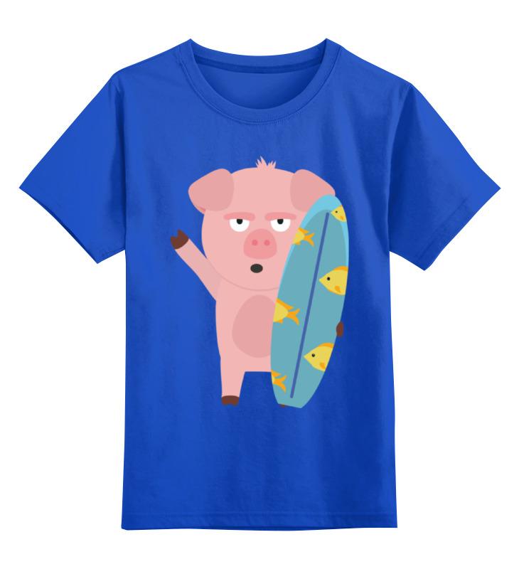 Детская футболка Printio Поросенок-серфер цв.синий р.152 0000002347973 по цене 990