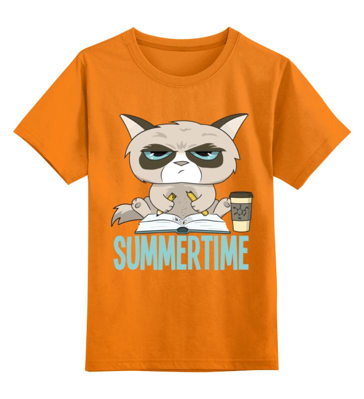 Купить 0000002381326, Детская футболка Printio Угрюмый кот цв.оранжевый р.152,