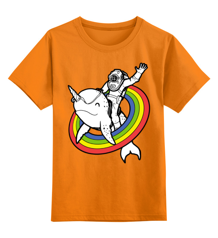 Купить 0000002386729, Детская футболка Printio Нарвал цв.оранжевый р.152,