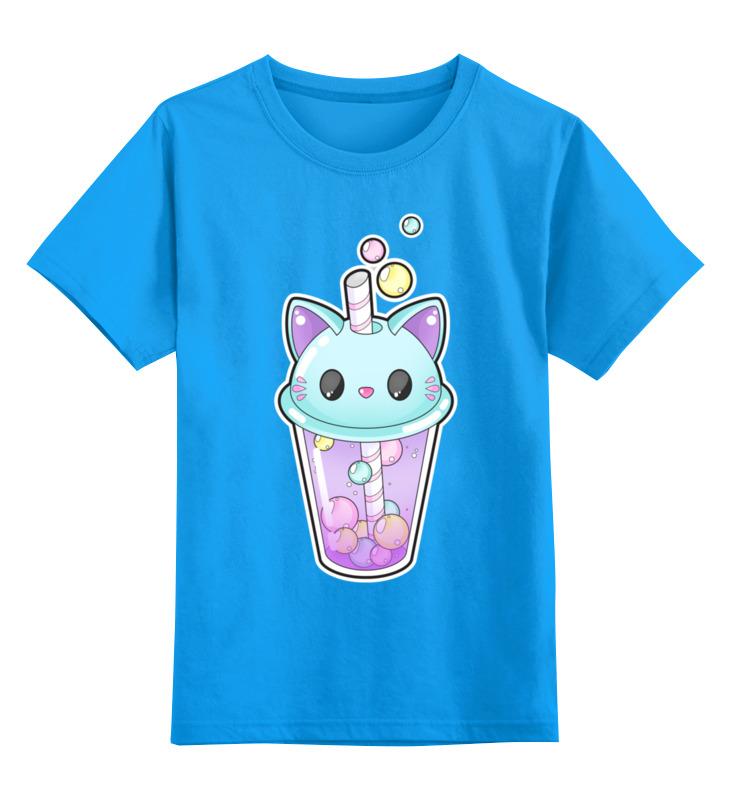 Купить 0000002443391, Детская футболка Printio Пузырьковое настроениекотик цв.голубой р.152,