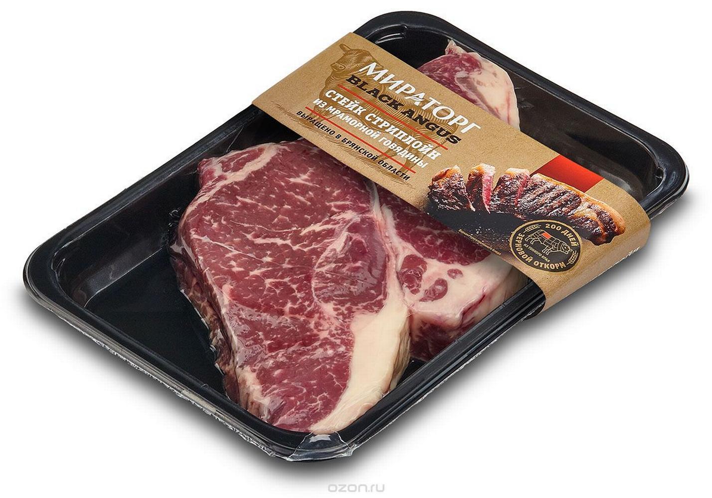 Стейк Мираторг стриплойн из мраморной говядины вакуумная упаковка 320 г фото