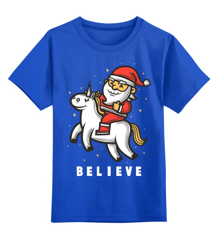 Купить 0000002588391, Детская футболка Printio Дед мороз цв.синий р.140,