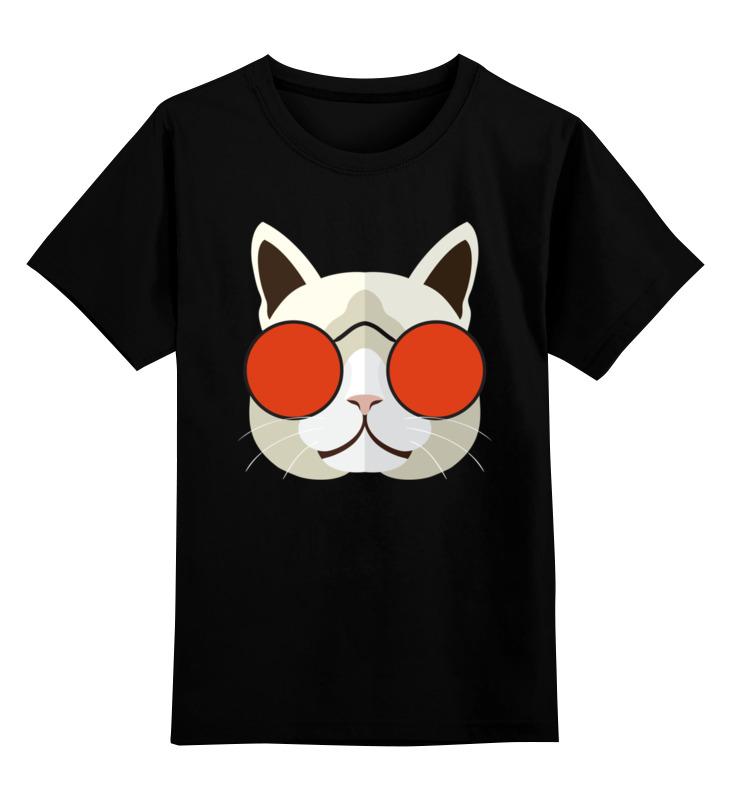 Детская футболка Printio Кот хипстер цв.черный р.140 0000002638669 по цене 990