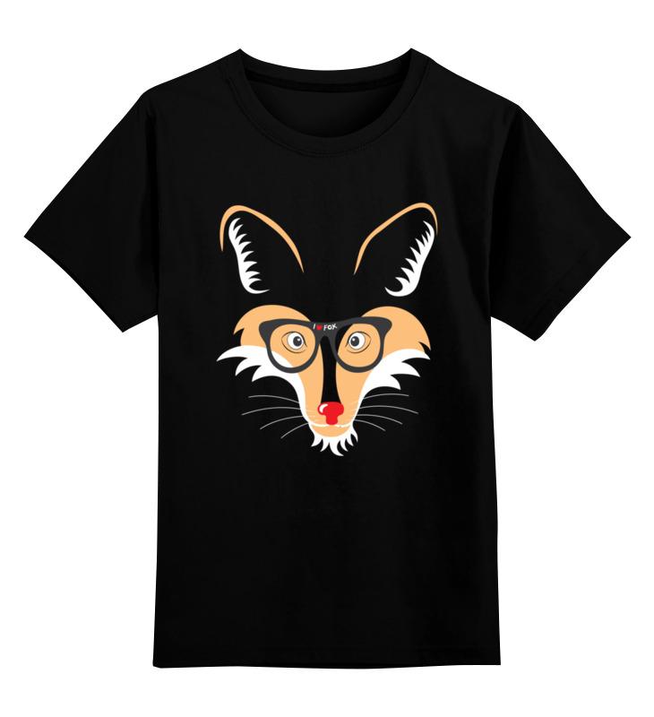 Купить 0000002683926, Детская футболка Printio Лис fox цв.черный р.140,