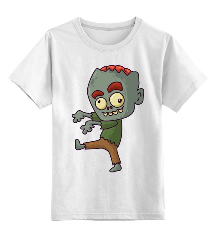 Купить 0000002721771, Детская футболка Printio Зомби цв.белый р.140,