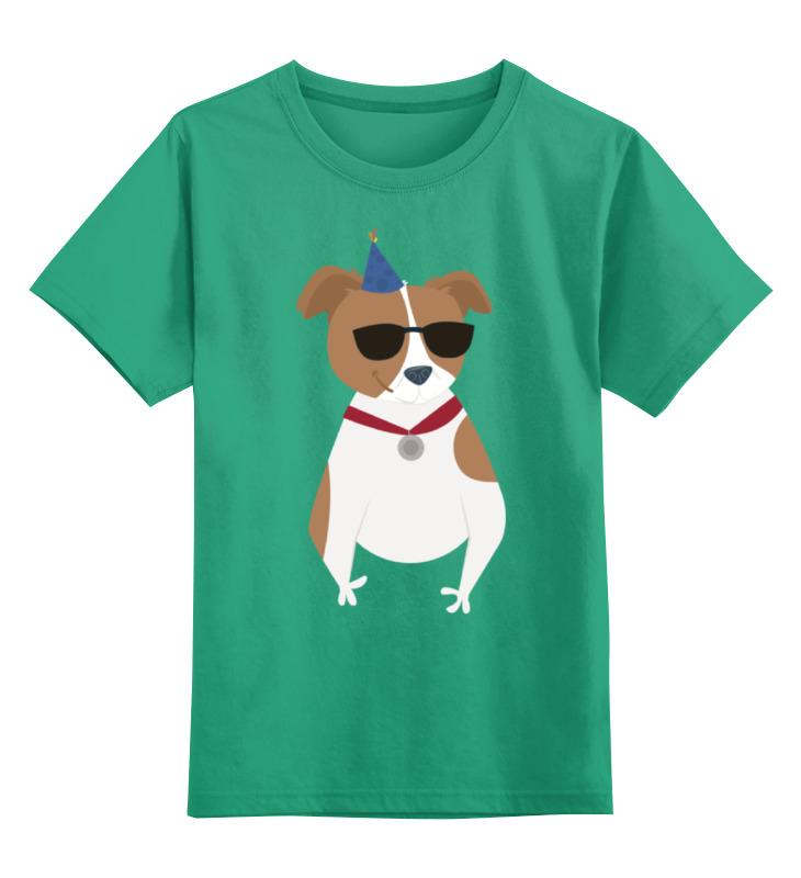 Купить 0000002281717, Детская футболка Printio Забавный пес цв.зеленый р.152,