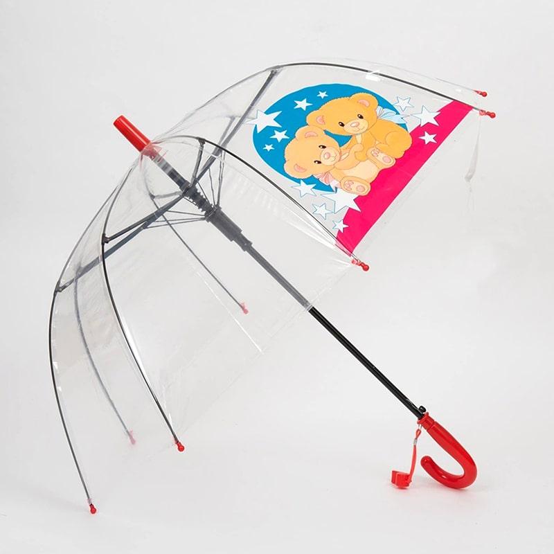 Зонт детский Diniya прозрачный со свистком Два Мишки, темно-розовая ручка