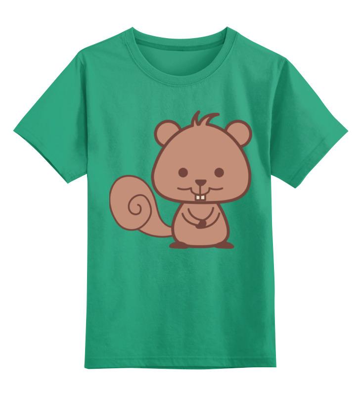 Купить 0000002386724, Детская футболка Printio Бобренок цв.зеленый р.152,