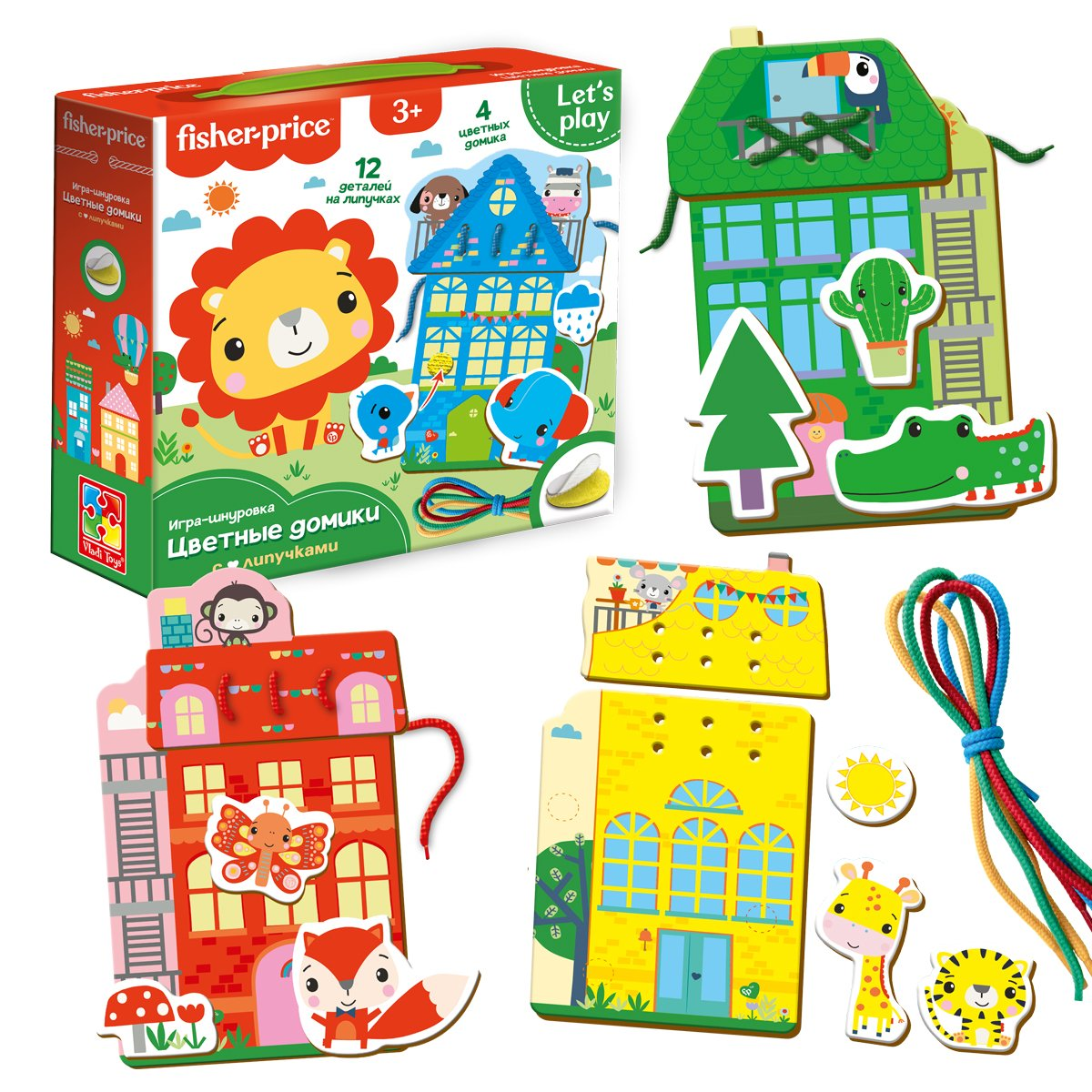 Развивающая игрушка Vladi Toys Fisher-Price Игра-шнуровка Цветные домики ,VT5303-18