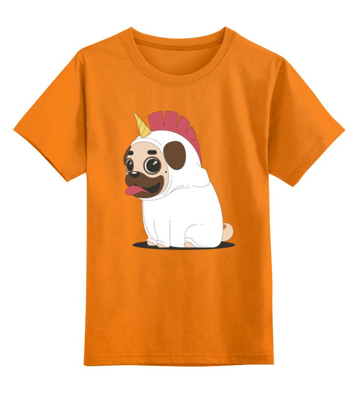 Купить 0000002431875, Детская футболка Printio Мопсик цв.оранжевый р.152,
