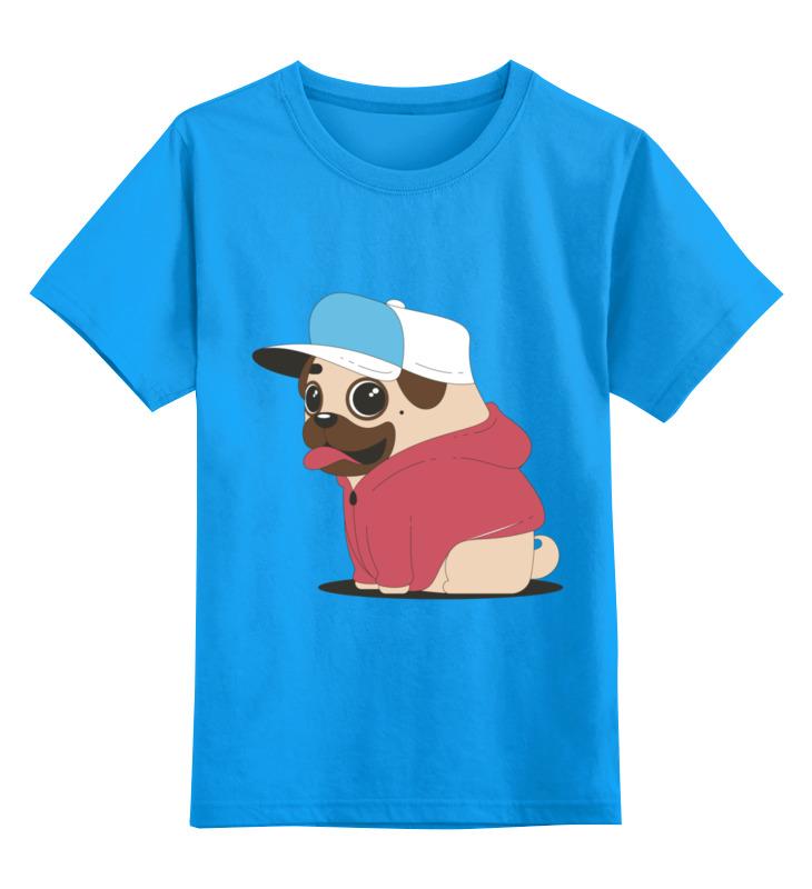 Детская футболка Printio Мопс-хипстер цв.голубой р.152 0000002431947 по цене 990