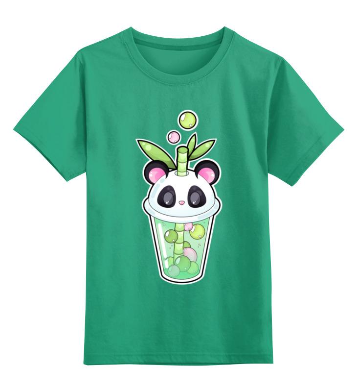 Купить 0000002443390, Детская футболка Printio Пузырьковое настроениепанда цв.зеленый р.152,