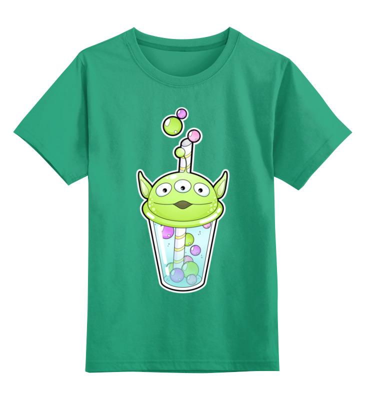 Купить 0000002443396, Детская футболка Printio Пузырьковое настроениеинопланетянин цв.зеленый р.152,